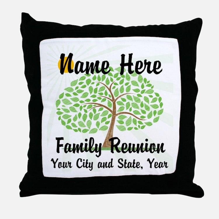 Customizable Family Reunion Tree Throw Pillow