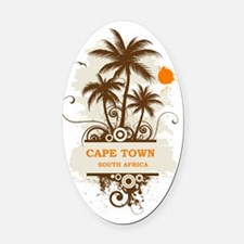 CapeTownpalmtree3 Oval Car Magnet