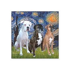 "T-Starry Night - 3 Boxers Square Sticker 3"" x 3"""