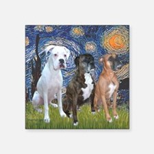 "T-Starry Night - 3 Boxers Square Sticker 3"" x 3"""