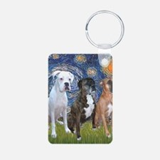 T-Starry Night - 3 Boxers Aluminum Photo Keychain