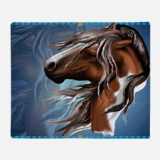Paint Horse Face-Yardsign Throw Blanket