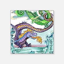 "cartoon dragon Square Sticker 3"" x 3"""