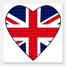 "Hearts_Union_Jack Square Car Magnet 3"" x 3"""