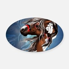 Paint Horse and Feathers-Yardsign Oval Car Magnet
