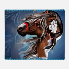 Paint Horse and Feathers-Yardsign Throw Blanket