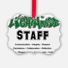 lighthouse staff front of shirtXL Ornament