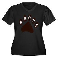 2-adopt claw Women's Plus Size Dark V-Neck T-Shirt