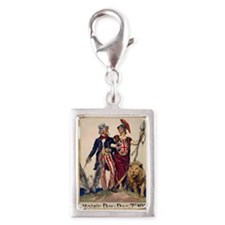 Title- Side by Side--Flagg - Silver Portrait Charm