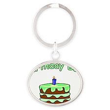 birthday boy 1 Oval Keychain