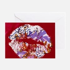 patterned red lips Greeting Card