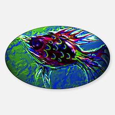 neon fish regular Sticker (Oval)