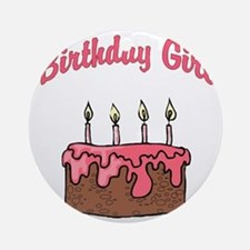 birthday girl 4 Round Ornament