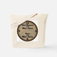 What Happens at the Man Cave Tote Bag