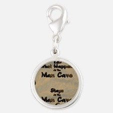 What Happens at the Man Cave Silver Round Charm