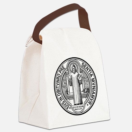 St Benedict Medal Front Black Canvas Lunch Bag
