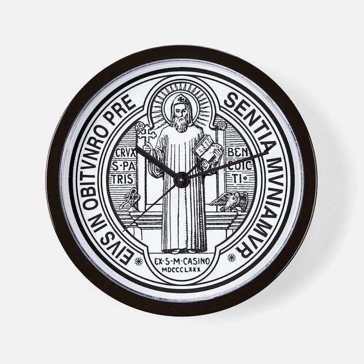 St Benedict Medal Front Black Wall Clock