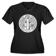 St Benedict  Women's Plus Size Dark V-Neck T-Shirt