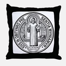 St Benedict Medal Front Black Throw Pillow