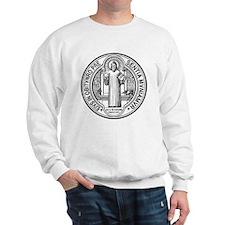 St Benedict Medal Front Black Sweatshirt