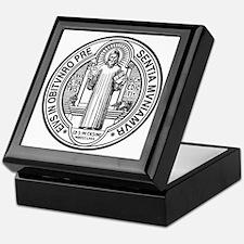 St Benedict Medal Front Black Keepsake Box