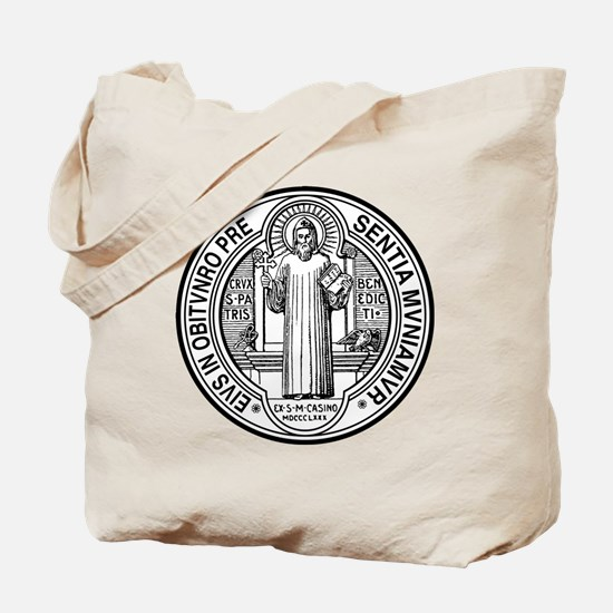 St Benedict Medal Front Black Tote Bag