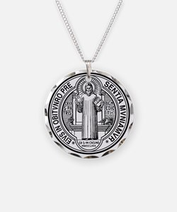 St Benedict Medal Front Blac Necklace