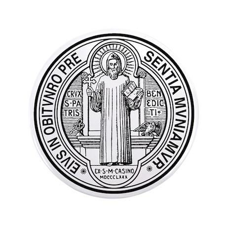 "St Benedict Medal Front Black 3.5"" Button"