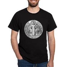 St Benedict Medal Front Black T-Shirt