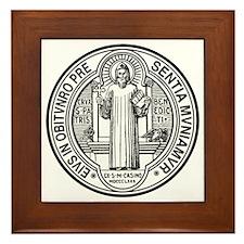 St Benedict Medal Front Black Framed Tile