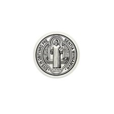 St Benedict Medal Front Black Mini Button