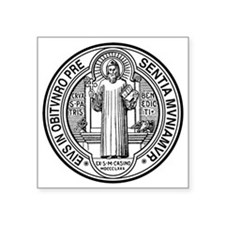 "St Benedict Medal Front Bla Square Sticker 3"" x 3"""