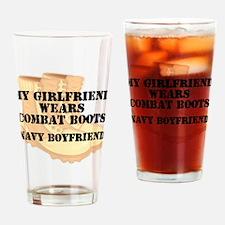 Navy Boyfriend Desert Combat Boots Drinking Glass