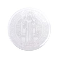 "St. Benedict Medal Front  White 3.5"" Button"