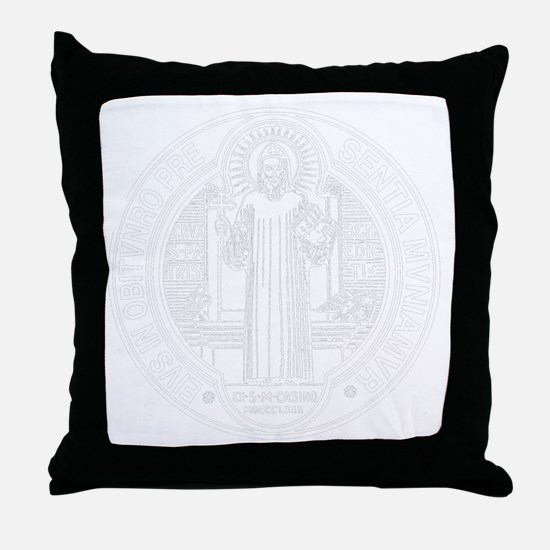 St. Benedict Medal Front  White Throw Pillow