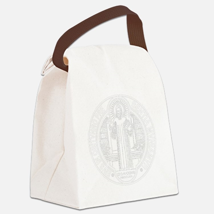 St. Benedict Medal Front  White Canvas Lunch Bag