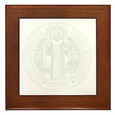 St. Benedict Medal Front  White Framed Tile