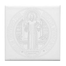St. Benedict Medal Front  White Tile Coaster