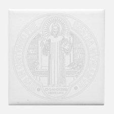 St. Benedict Medal Front  White Tile Coaster
