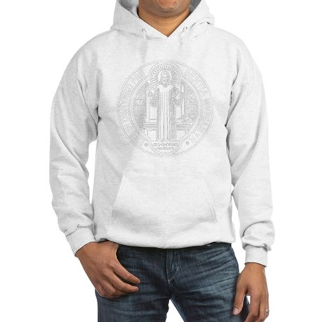 St. Benedict Medal Front White Hooded Sweatshirt