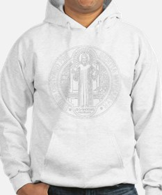 St. Benedict Medal Front  White Hoodie