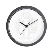 St. Benedict Medal Front  White Wall Clock