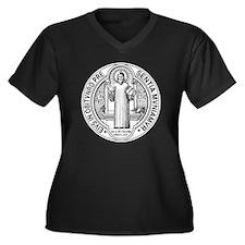 St. Benedict Women's Plus Size Dark V-Neck T-Shirt