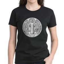 St. Benedict Medal Front  Whi Tee