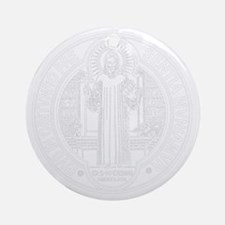 St. Benedict Medal Front  White Round Ornament