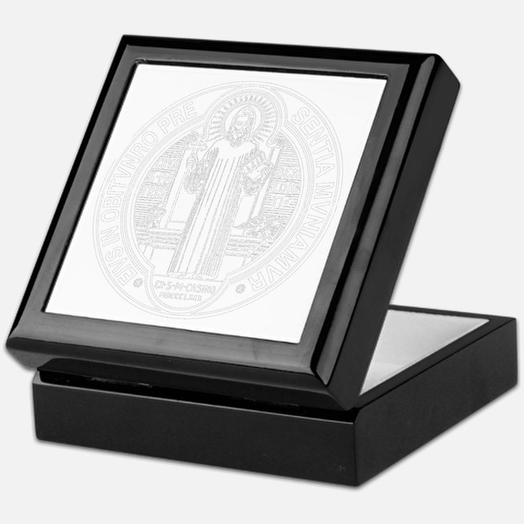 St. Benedict Medal Front  White Keepsake Box