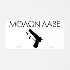 molon_labe_pistol_black Aluminum License Plate