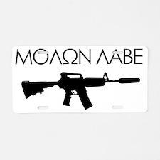 molon_labe_rifle_black Aluminum License Plate