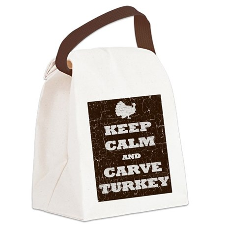 Vintage Keep Calm and Carve Turke Canvas Lunch Bag