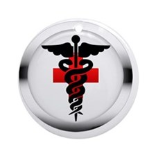 caduceus on red cross Round Ornament